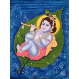 Baby Krishna on Peepal leave